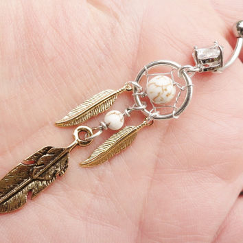 Tribal Dream Catcher Belly Button Jewelry Ring White Turquoise