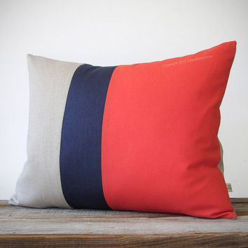 16x20 Color Block Pillow in Coral, Navy and Natural Linen by JillianReneDecor Beach House Home Decor - Striped Trio - Custom Colors