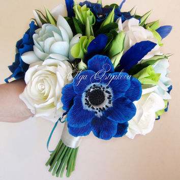 Royal blue anemones bouquet, Blue wedding bouquet, bridal bouquet with anemones