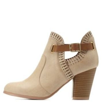 Tan Qupid Laser-Cut Belted Ankle Booties by Charlotte Russe