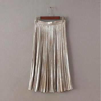 Vintage Metallic color Midi Pleated Skirt New Woman High Waist Gradient Bronzing Golden Sliver A line Skater Long Swing Skirts