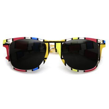 Retro Colorful Artistic Abstract Square Print Horned Rim Sunglasses 9487