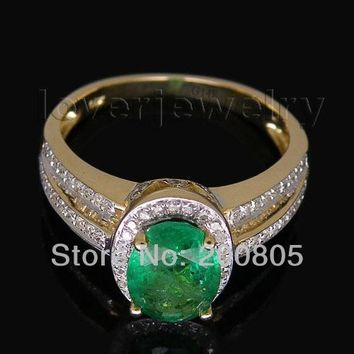 Vintage Oval 6x8mm Gemstone Solid 14kt Yellow Gold Natural Diamond Green Emerald Wedding Ring Trendy Jewelry RL0082