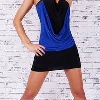 Blue and Black Halterneck Bodycon Dress
