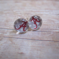 Handmade Polka Dot Alabama Crimson Tide Post Earrings - or Custom Team