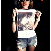 Bob Dylan Tank Shirt Women Tops Girl Summer Fashion Sexy Side boob Size S, M, L