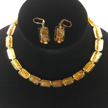 Venetian Glass Demi Parure, Autumn Shades and Gold Tone Jewelry Set,  Vintage 1950s 1960s European Italian Style Earrings Necklace