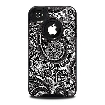 The Black and White Paisley Pattern V6 Skin for the iPhone 4-4s OtterBox Commuter Case