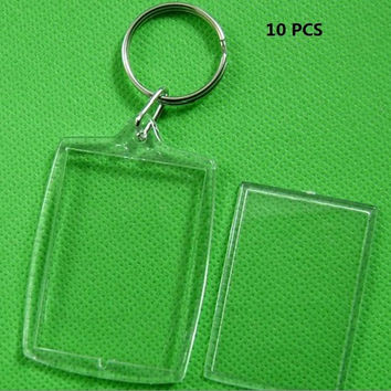 5PCS Picture Frame Key Ring Chain Transparent Blank Insert Photo Key Chain SM6
