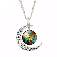 Romantic Butterfly Moon Neacklace Vintage Sterling Silver Jewelry Fashion Glass Cabochon Pendant Statement Necklace for Women