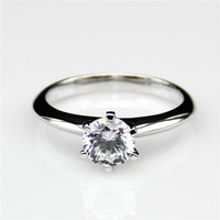 LASAMERO REAL Moissanites 1 Carat 925 Silver Gold Plated Lab Grown Moissanites Diamond Engagement Ring for Women Fine Jewelry