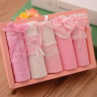 VONETDQ 5 Pcs/SET Cotton Underwear Bowknot Lady's Lovely Underwear Panty Women's Briefs Panties Gift Box Combination