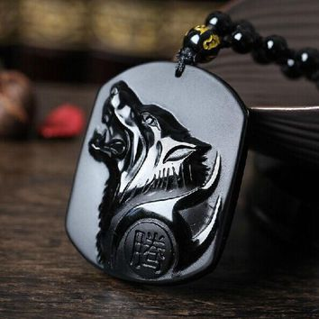 DCCKL3Z Drop Shipping Black Obsidian Carving Wolf Head Obdidian Amulet pendant free necklace obsidian Blessing Lucky pendant Men Jewelry