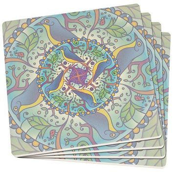 PEAPGQ9 Mandala Trippy Stained Glass Spring Birds Set of 4 SandsTone Art Coasters