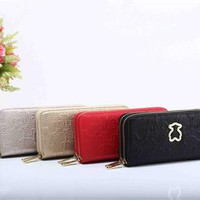 """TOUS"" Women Solid Color Purse Simple Fashion Embossed Double Layer Zip Long Section Wallet Clutch"