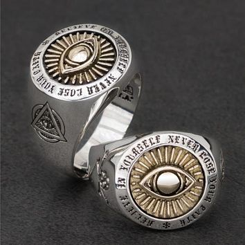 Eye of Providence Resizable Silver Ring