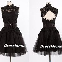 Short lace Prom Dress - Black Prom Dresses / Lace Homecoming Dress / Short lace Prom Dress