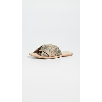Free People Rio Vista Slide Sandals Beige Snake
