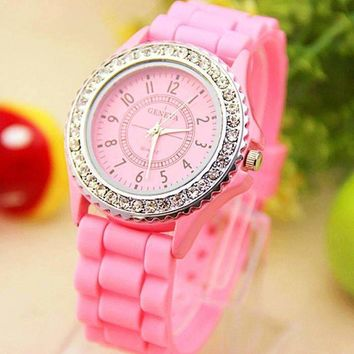Sparkly Silky Silicone Watch in Pink
