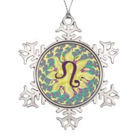 Zodiac Sign Leo Fractal Mandala Snowflake Pewter Christmas Ornament