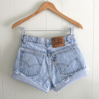 Vtg Light Wash Levi's High Waisted Cut Off Denim Shorts Jean Cuffed Relaxed 27""