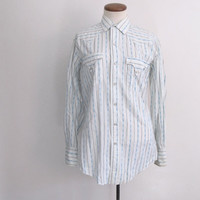 60s 70s tem-tex shirt - vintage striped geometric pattern white blue pearl snap extra long tails long sleeve collared western unisex top