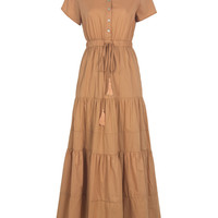 Button Down Short Sleeve with Waist Tie Collared Maxi Dress