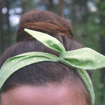 Polka Dot Wire Headband, Green Twist Scarf, Dolly Bow Hair Wrap, Pin-Up Bandana.