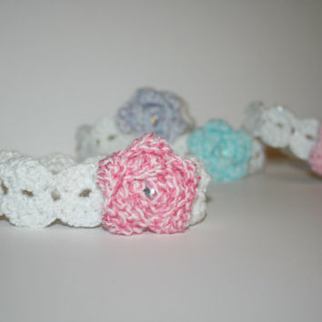 White Sparkle Headband with beautiful Pastel flower, Infant, Toddler, Kids, Adult