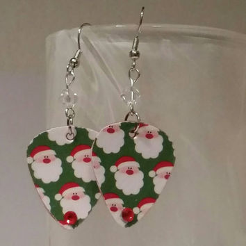 Guitar Pick Earrings - Betsy's Jewelry- Christmas  Jewelry - Holiday  - Santa Claus - Upcycled Jewelry