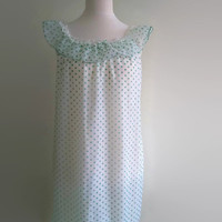 Green polka vintage nightgown - white spotty babydoll nightie - dotty chiffon nylon nightdress -  70s frilly night gown