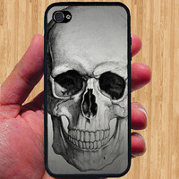 Metallic Skull iPhone Case - Rubber Silicone iPhone 4 Case or Plastic iPhone 5 Case - Free Screen Protector Included