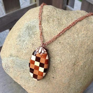 Bohemian Handmade Checkered Oval Exotic Wood Bead Pendant Twisted Copper Chain Necklace by WoodenItBeadLovely