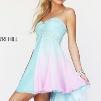 Short Strapless Sweetheart Ombre Dress