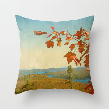 Adirondacks in Fall Colors - View From Bald Mountain in Red Orange and Blue - Throw Pillow Cover - Red, Orange, Blue