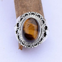 tiger eye ring, silver ring,   stone ring, silver tiger eye ring,92.5 sterling silver, Natural tiger eye stone Silver Ring, RNSLTE204