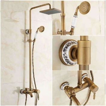 "NEW Blue And White Porcelain Antique Brass 8"" Rain Shower Faucet Tub Mixer Tap"