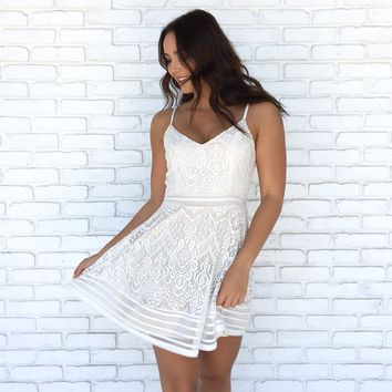 Love Story Lace Skater Dress in Ivory