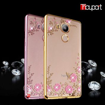 For Huawei Enjoy 6S Case Transparent Silicone Phone Back Cover Soft TPU Secret Garden Rhinestone For Huawei Honor 6C Case