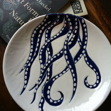 Navy blue octopus decor, round ceramic platter and dinner plate by Jessica Howard Ceramics
