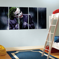 the joker canvas print, extra large wall art, the dark knight poster, movie poster, framed, movie wall art, home decor 11m54