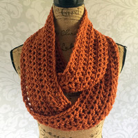 Ready To Ship Infinity Scarf Burnt Pumpkin Burnt Orange Fall Winter Women's Accessory Infinity