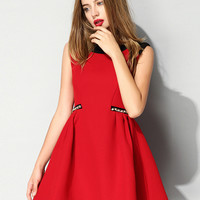 Contrast Color Chain Embellished Sleeveless Dress Red