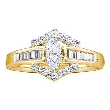 14k Yellow Gold Marquise Diamond Solitaire Bridal Wedding Engagement Anniversary Ring 3/4 Cttw - FREE Shipping (US/CAN)