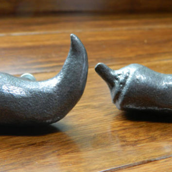 Set of 2 Jalapeno Cabinet Knobs - Designed by Michael Aram - Metal Chile Pepper Cabinet Hardware - Destash