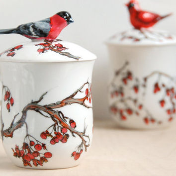 Hand Painted Tea Cup  Love Birds Bullfinch by yevgenia on Etsy