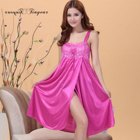 Whole sale large size ladies Nightgowns & Sleepshirts soft breathable faux silk Women's Sleep & Lounge wear 6 colors options