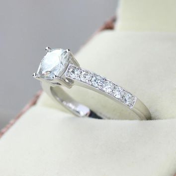 1.46 Carat Cushion Cut Engagement Wedding Diamond Ring  Solid 14k White Gold Fine Jewelry