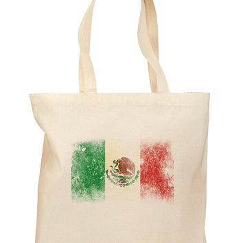 Distressed Mexican Flag Grocery Tote Bag