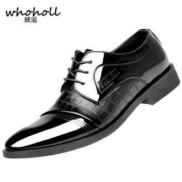 Whoholl Crocodile Pattern Leather Men's Wedding Shoes,For Business Dress Formal Wear,Luxury Style Male Brand Shoes Spring/Winter